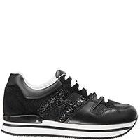 Черные кроссовки Hogan с глиттером, фото