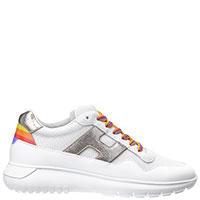 Белые кроссовки Hogan с цветными шнурками, фото