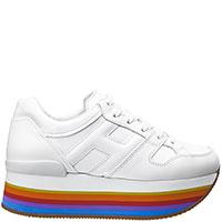 Белые кроссовки Hogan на цветной подошве, фото