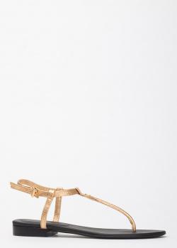 Золотистые сандалии Zadig & Voltaire из зернистой кожи, фото