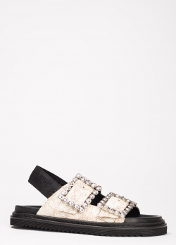 Белые сандалии Zadig & Voltaire с камнями на пряжке, фото