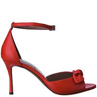 Красные босоножки Tabitha Simmons с декором-бантом, фото