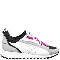 Белые кроссовки Dsquared2 с серой вставкой, фото