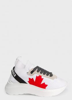 Белые кроссовки Dsquared2 с принтом, фото