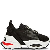 Черные кроссовки Dsquared2 с красной вставкой на подошве, фото