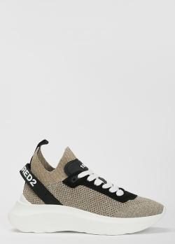 Бежевые кроссовки Dsquared2 с фирменной надписью, фото