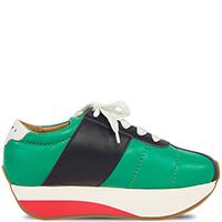 Кожаные кроссовки Marni зеленого цвета на толстой подошве, фото
