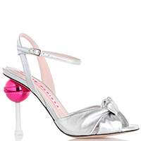 Серебристые босоножки Minna Parikka на каблуке в виде леденца, фото