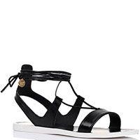 Кожаные сандалии Tosca Blu черного цвета на высокой шнуровке, фото