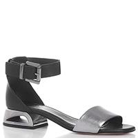 Черные босоножки Tosca Blu Nina с серебристой вставкой, фото