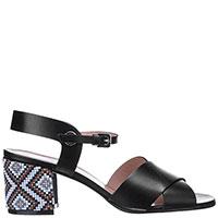 Черные босоножки Pollini на устойчивом каблуке, фото