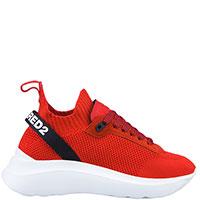 Текстильные кроссовки Dsquared2 красного цвета, фото