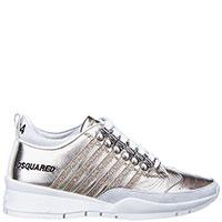 Золотистые кроссовки Dsquared2 с перфорацией на носке, фото
