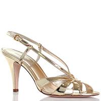 Кожаные босоножки золотистого цвета Ines De La Fressange на высоком каблуке, фото