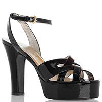 Черные лаковые босоножки Ines De La Fressange на толстом каблуке, фото