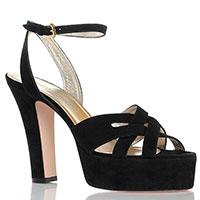 Черные замшевые босоножки Ines De La Fressange на толстом каблуке, фото