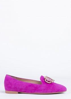 Розовые лоферы Stuart Weitzman с декором, фото
