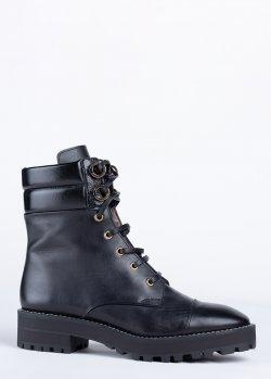 Ботинки Stuart Weitzman из черной кожи на шнуровке, фото