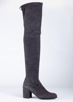 Серые ботфорты Stuart Weitzman на среднем каблуке, фото