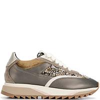 Коричневые кроссовки Santoni с твидовой вставкой, фото