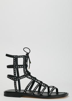 Черные сандалии Stuart Weitzman с декором-бусинами, фото