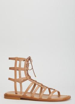 Высокие сандалии Stuart Weitzman бежевого цвета, фото