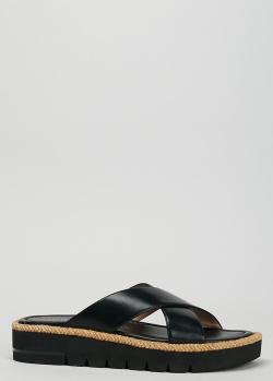 Шлепанцы из кожи Stuart Weitzman черного цвета, фото