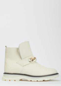 Белые ботинки Helena Soretti с натуральным мехом, фото