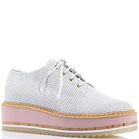 Белые перфорированные туфли Vicini на платформе, фото