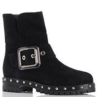 Замшевые черные ботинки на низком каблуке Le Silla с декоративной пряжкой, фото