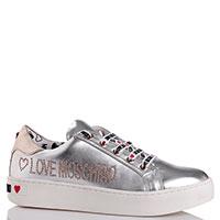 Серебристые кеды Love Moschino с декором заклепками, фото