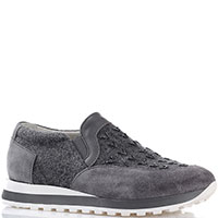 Кроссовки со вставками-резинками Peserico из комбинации замши и войлока серого цвета, фото