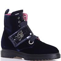 Ботинки Blumarine темно-синего цвета с толстыми шнурками, фото