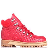 Красные стеганные ботинки Le Silla на рельефной подошве, фото