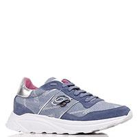 Синие кроссовки Blumarine с комбинации замши и текстиля, фото