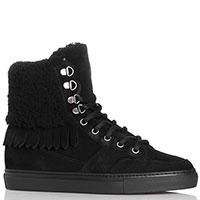 Черные замшевые ботинки John Galliano на меху, фото