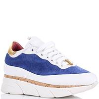 Кроссовки белые с синим Blumarine на толстой подошве, фото
