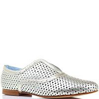 Серебристые туфли Pollini из перфорированной кожи, фото