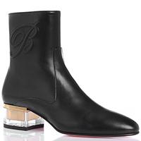 Ботинки из гладкой кожи черного цвета Blumarine на низком каблуке, фото