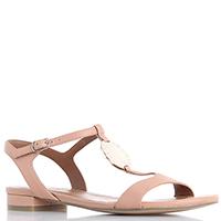 Бежевые сандалии Emporio Armani из кожи на низком каблуке, фото
