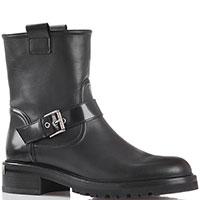 Ботинки на низком каблуке Blumarine из черной кожи с декоративной пряжкой, фото