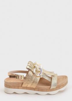Золотистые сандалии Tosca Blu с декором-цепью, фото