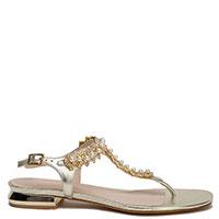 Золотистые сандалии Tosca Blu Crystal с декором-камнями, фото