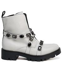 Белые ботинки Tosca Blu с декором-камнями, фото