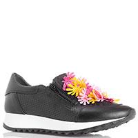Кроссовки из черной перфорированной кожи Tosca Blu с яркой аппликацией, фото