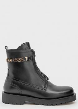 Черные ботинки Twin-Set с брендовым декором, фото