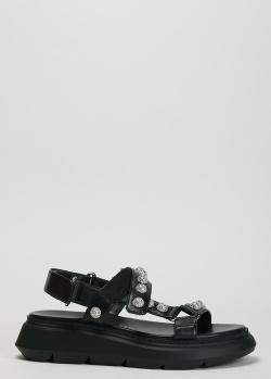 Черные сандалии Stuart Weitzman с декором-камнями, фото