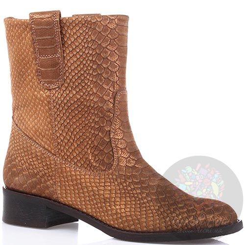 Женские ботинки Modus Vivendi из кожи коричневого цвета с имитацией кожи питона, фото