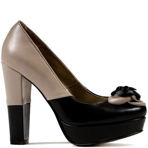 Женские туфли Modus Vivendi на каблуке и скрытой платформе с геометрической комбинацией из бежевой и черной кожи, фото