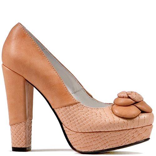 Туфли Modus Vivendi из сочетания гладкой кожи и с имитацией кожи питона бежевого цвета, фото